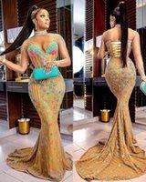 2021 Plus Size Arabo Aso Aso EBI Gold Luxurious Sirena Dress Prom Dresses ad alto collo in pizzo perline sera formale party Second Abiti Abiti ZJ114