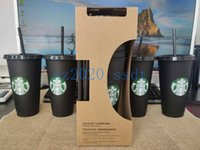 Черные Starbucks 24oz / 710 мл пластиковая многоразовая кубок с прозрачной крышкой цилиндров для питья