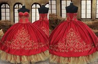 2022 Modest Red Gold Embellishment Mexican Quinceanera Dresses Ball Gown Charra XV Satin Beaded Ruched Corset Vestido De 15 Anos Prom Evening Party Dress
