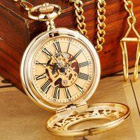 Reloj de bolsillo mecánico de oro antiguo con cadena Steampunk Skeleton Hollow Hollow Blindado de mano Reloj colgante Hombres Mujeres Gold Bronce Regalo