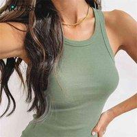 여성 민소매 Femme Bodycon 미니 탱크 드레스 블랙 화이트 섹시한 패키지 엉덩이 가운 여름 캐주얼 소녀 니트 Sundress G1638 210602