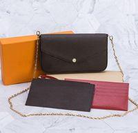 2021 женская сумка модной сумочкой одно плечо сидячие мешки кошелек дизайнер высококачественный классический печатный цепной цепочка независимая карта кошельки 3-х частей набор