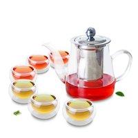 7in1 Kung Fu Café Chá Conjunto de Chá-Big 740ml Potenciômetro de Chá de vidro resistente ao calor W / Infusor de aço inoxidável Filtro + 6 * Copo de camada de parede dupla