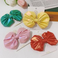 Hair Accessories Bright Color PU Leather Round Bows For Girls Cute Laser Bowknot Hairpin Kids Grips Top Head Barettes Headwear Styling