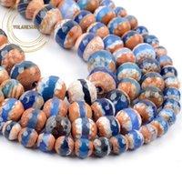 Другие оптовые природные синие тибетские агаты DZi шарики 6/8 / 10 мм круглый ограненный свободный прокладки камень для ювелирных изделий изготовления DIY браслет