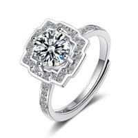 Anéis de casamento Atacado noiva redondo branco zircão anel de prata tamanho ajustável amor estilo feminino presentes cocktail party acessórios