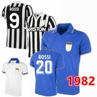 Retro 1982 1984 1985 1985 إيطاليا Soccer Jerseys Platini Boniek Rossi Tardelli Gentile Home Away Classic Football Shirt S-2XL