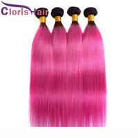 Highlight Zwei Ton 1b Rosa Gerade Haarbündel Brasilianische Jungfrau Menschliches Haar Gewebt Günstige dunkle Wurzeln Pink Brazillian Ombre Hair Extensions