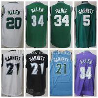 Vintage Basketbol Ray Allen Jersey Retror 20 Kevin Garnett 5 21 Paul Pierce 34 İsa Shuttlesworth Dikişli Renk Yeşil Beyaz Siyah Mavi