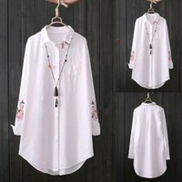 100% Cotton Plus Size Womens Blouses Feather Embroidery White Long 3 4 Sleeve Art Loose Ladies Office Work Tops Button