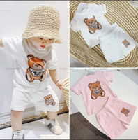 Summer Baby Boy Girl Clothing Set Casual Bear Letter Pattern Print Sport T-shirt + Pant Kid Children Toddler Clothes