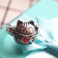 Original Design Glückkatze Thai Silber Öffnung Einstellbare Ring Chinesischen Stil Retro Kultur Licht Luxus Charme Schmuck Cluster Ringe