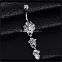 Bell anneaux Boîte à bijoux Livraison 2021 Blingbling Water Drop Fleur Pendentif de fleur avec diamant Femelle nombrile Bague nombril trois couleurs à choo