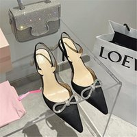 Dress Shoes 2021 Design Woman ButterFly Knot Sandals Sling Back Zapatos De Mujer Crystal Thin High Heels Bling Laides Pumps