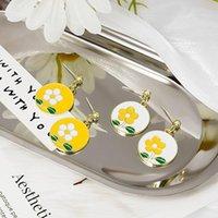 Stud Elegant Vintage Flower Earrings Women Fashion Round Female Sweet Girl Cute Gold Color Zinc Alloy Jewelry Brincos