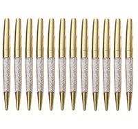 أقلام حبر جاف 500 قطعة / الوحدة روز الذهب القلم بلينغ الماس غرامة الحبر الأسود كريستال الدائري الزفاف مكتب المعادن الأسطوانة الكرة هدية