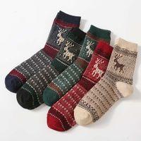 Meias de lã elk, mid barril de natal espessou meias de toalhas quentes