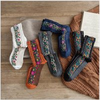 Women's socks mid-tube spring and summer models European American retro ethnic flowers new 6 pairs factory wholesale