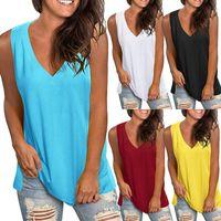 T Gömlek Kısa Kollu 9 Renkler 5 metre Yaz Avrupa ve Amerikan Katı Renk Gevşek V Yaka Kolsuz T-shirt Kadınlar