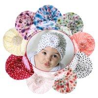 인쇄 된 라운드 매듭 아이 모자 아기 소녀를위한 신생아 신생아 비니 모자 유아용 터번 모자 면화 부드러운 유아 여자 모자 헤어 액세서리 hea