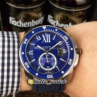 42mm Calibre De Dive WSCA0011 Asian automatique Mens Watch cadran bleu Big Date cas Roman Mark Steel Rubber Montres Hello_Watch