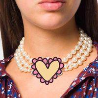 متعدد الطبقات حجر الراين مدار الترقوة سلسلة الباروك بيرل المختنق القلائد للنساء بنات هدية حزب