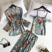 SAPJON 2021 3 PCS Femmes Sleepwears Pyjamas Ensembles avec pantalon Sexy Satin Flower Prince Nightwear Silk Soie Négligé Sleep Height Pajama
