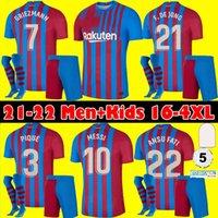 S-4XL Barcelona Soccer Jersey Messi Barca 21 22 Ansu Fati 2021 2022 Griezmann F.de Jong Countinho Camisetas de Football Shirt Men + Kids Kit