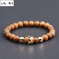 Arrivals Wooden Beads Strand Bracelet Men Handmade Buddha Wood Gold Color Copper Queen Crown Charm Bracelets Jewelry Beaded, Strands