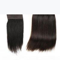 Cabello de Malasia recto con cierre 3pcs paquetes de cabello con cierres libres o mediana 7a Cabello recto brasileño sin procesar con cierre