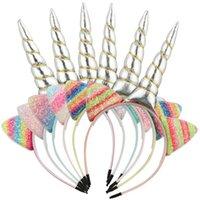 Meninas Acessórios de Cabelo Sticks Headbands Bandas para Crianças Crianças Unicórnio Rainbow Party Bonito Lantejoula Acessório B5230