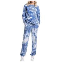 달리기 패션 여성 긴 소매 넥타이 염료 인쇄 지퍼 까마귀 트랙스 풀오버 탑스 느슨한 조깅 스웨트 팬츠 세트 # G4