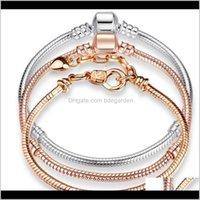Bijoux Drop Livraison 2021 Bracelets en or rose Femmes Snake Chain Charme Perles de charme pour Bracelet de bracelet Pandora Cadeau Festival PS2483 4KHJP