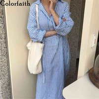 Colorfaith New 2020 Summer Women Shirt Dress Striped Lapel Single-breasted Lace Up Loose Cotton and Linen Casual Dress DR2268 X0521