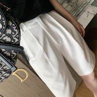 Calças femininas capris deat 2021 verão moda casual sólido sólido frouxo branco preto cintura alta terno largo perna joelho comprimento mulheres sb333