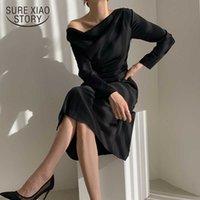 Нерегулярные белые черные женщины платье лето с длинным рукавом женское платье Элегантная косой шеи сексуальные платья для вечеринки халат Vestido 13067 210528