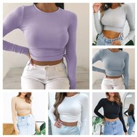 2020 Women Clothing Designer New Casual Solid Colour O-Neck Long Sleeve Crop Top Ladies Side Drawstring Ruched T Shirt Ladies Fashion Short