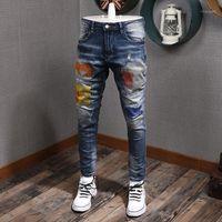 Herbstloch Denim Männer bestickte Mode Marke Jeans Herren Koreanische Stil Vaqueros Hombre Skinny Wablne schlanke elastische Füße1 PH1P