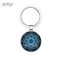Suteyi novo estilo yoga chakra buddhism zen chaveiro espiritual om vidro cabochão chaveiro anel jóias presente de natal