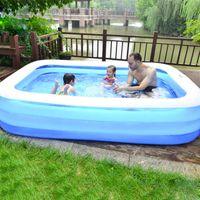 Piscine Accessoires Summer Gonflable Baignade Grandes piscines pour Famille PVC Rectangle Baignoire Baignoire Adultes Enfants Épaissement confortable portable