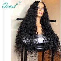 """Krullend menselijk haarkantpruik 13x4 lange lengte 30 """"32"""" dikke dichtheid Braziliaanse Remy voor vrouwen 200% 300% lijmloze qearl pruiken"""