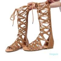 Roman Gladiador Bandage Sandalias Mujeres Rodilla High Sandalias Botas Femininas Zapatos Chicas Verano Hollow Tobillo Boot J25