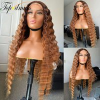 wigs Topodmido 13X4 Lace Front Umbrella Brown Brazilian Remy s Deep Gulf Human Hair Lyme-free Page Wig For Women