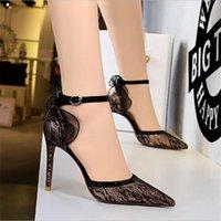 Dress Shoes 2021 Women 10cm High Heels Lace Sandals Lady Mesh Stripper Strap Stiletto Sexy Sandles Wedding Bridal Prom Elegant Pleaser