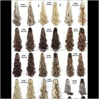 22 Inch Curly Pigtail Long Ponytails Synthetic Horsetails With Claw Ponytail Clip In Hair Extensions Hairpiece Pony Tail Dv47Z Hjevy