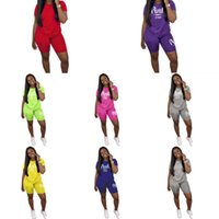 2020 Women Sets Summer Tracksuits Sportswear Fitness Short Sleeve T-Shirts+Shorts Suit Two Piece Set Sporty 2 Pcs Outfits Q1219