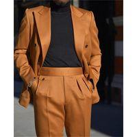 Men's Suits & Blazers Orange Double Breasted Mens Evening Party Wear Two Pieces Formal Business Peaked Lapel Wedding Dress Suit Coat Pants