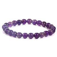 Handmade Gem Semi Precious Gemstone 8mm Round Beads Stretch Bracelets for Women Men Natural Amethyst Jewelry Whole