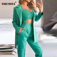 Весна лето сплошной элегантный деловой костюм женщины с длинным рукавом Blazer + бюстгальтер + карманные штаны наряды мода три куска набор женщин два
