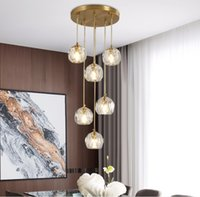 Light  modern simple crystal chandelier multi head rotating stair lamp personalized bar household dining table